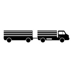 Trailer truck icon, simple style