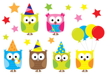 Cartoon Little  owls with balloons at birthday party