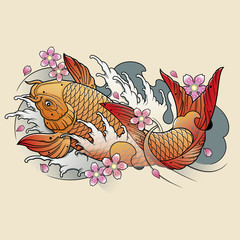 koi fish with waves