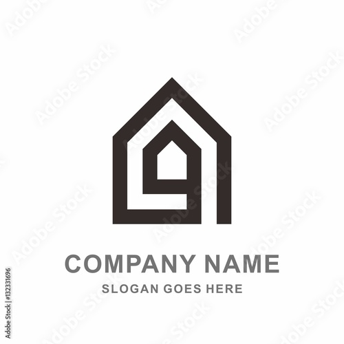 simple house shape architecture interior construction real estate business company stock vector logo design template