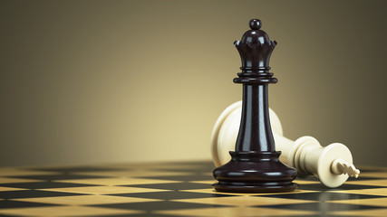Defeat chess king from a black queen on a chessboard
