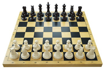 Chess game. Chessboard and chess pieces