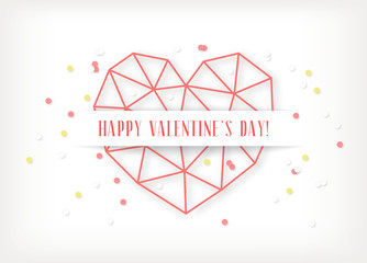 Vector Valentine's day card with geometric red heart made of triangles on white background.