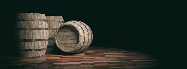Wooden barrels on dark background. 3d illustration
