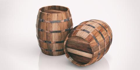 Wooden barrels on white background. 3d illustration