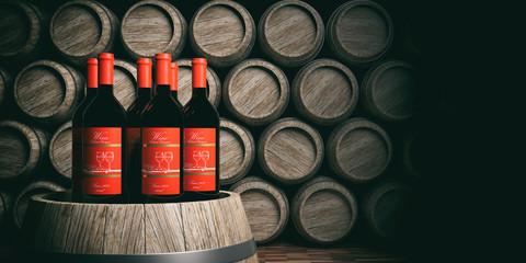Wine bottles on wooden barrels background. 3d illustration