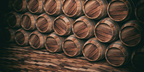Wooden barrels background. 3d illustration