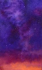 Galaxy, watercolor illustration