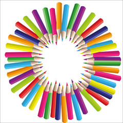 vector circle background of colored pencils for your design