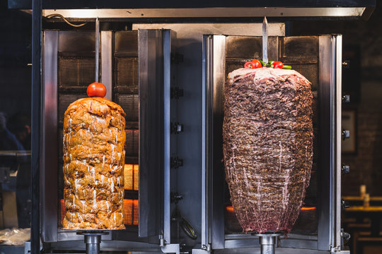 Bbq meat for turkish doner kebab in a restaurant in istanbul. As