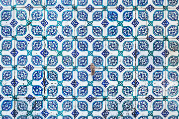 Seamless pattern white Turkish tiles with blue ornaments. Old su