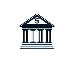 Banking conceptual logo, unique vector symbol. Banking system. T
