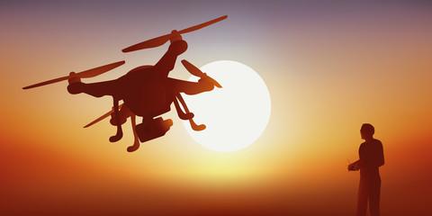Drone - caméra - espion - Coucher de soleil