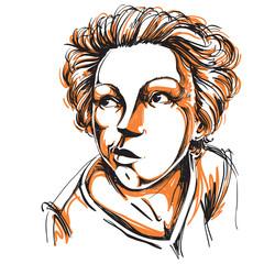 Graphic vector hand-drawn illustration of white skin attractive