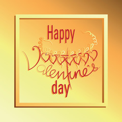 Yellow frame to Valentine's Day. Vector Image. Design congratulations, banners, cards, poster to Valentine's Day.