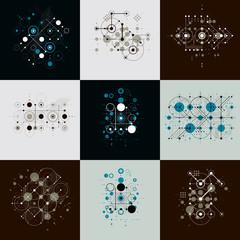 Bauhaus art composition. Set of decorative modular vector wallpa