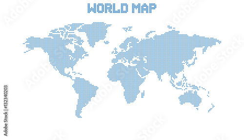 Dotted Blank Blue World Map Isolated On White Background World - Blank world map vector