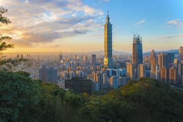 Taipei skyline Taiwan at Sunset