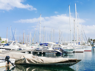 Sea port El Kantaoui, Tunisia. Many yachts moored to the pier.