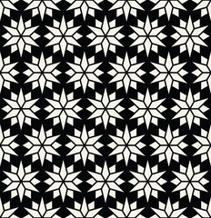 Abstract geometric black and white deco art pillow star pattern