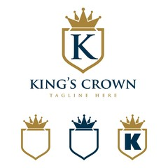 K Letter Shield and Crown Logo Template