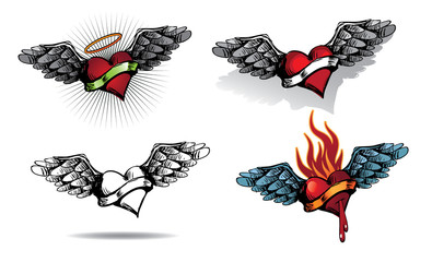Hand Drawn Heart Tattoo Collection. Flaming heart, winged heart, halo, ribbon with copy space. For Valentines Day or use as tattoo. EPS 10 vector.