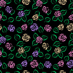 Seamless floral pattern. Colorful roses and leaves on a black background. For design backgrounds, greeting cards for Valentines day, for design wrapping paper and textiles.