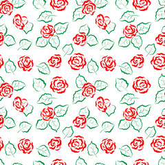 Seamless floral pattern. Red roses and leaves on a white background. For design backgrounds, greeting cards for Valentines day, for design wrapping paper and textiles.
