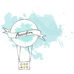 Air Balloon Freedom Illustration