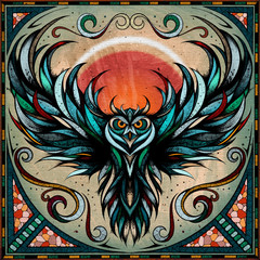 Owl motif, illustration