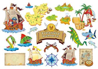 Set Vector illustration Treasure Hunters.