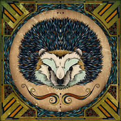 Hedgehog motif, illustration