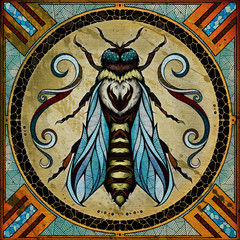 Bee motif, illustration