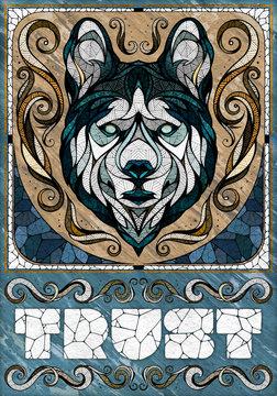 Wolf motif, illustration