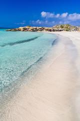 Famous pink coral beach of Elafonissi (Elafonisi) on Crete, Mediterannean sea, Greece