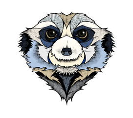 Door stickers Hand drawn Sketch of animals Meerkat head, illustration