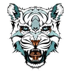 Snow leopard head, illustration