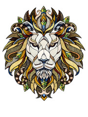 Lion head, illustration