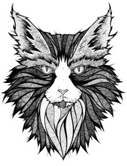 Cat head, illustration, black and white