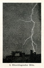 A lightning strike from cloud to ground (from Meyers Lexikon, 1895, 7/536/537)