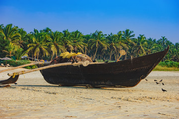 Traditional fishing boat on palm trees background, Cavelossim Beach in South Goa, India