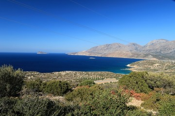 VIEW ON THE BAY OF MIRABELLO NEAR AGIOS NIKOLAOS, CRETE GREECE