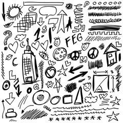set doodle shapes, lines and curves, design element
