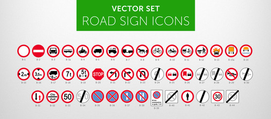 Fototapeta ROAD SIGNS | Znaki Drogowe Zakazu - vector icon PACK vol.1 obraz