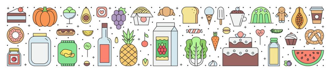 Food and drinks (grocery shop) outline horizontal illustration.