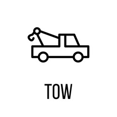 Tow icon or logo in modern line style.