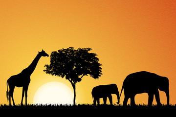 Elephants and giraffe in Africa vector