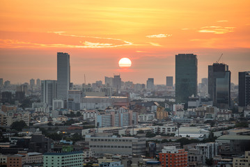 Bangkok city skyline at sunrise