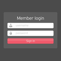 Vector black login interface.