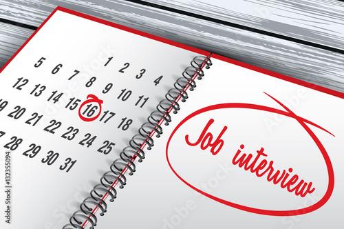 Calendar Illustration Job : Quot job interview day mark on calendar vector illustration